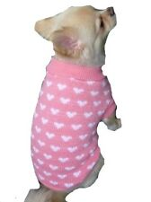Dog Sweater Little Hearts XS S M L - Coat Puppy Clothes Jacket Jumper Chihuahua