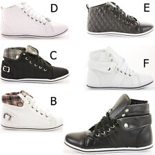 Girls Lace up Flat Ankle High Tops Style Trainer Boots Shoes Size