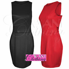 NEW WOMENS LADIES CUT OUT SHIFT BODYCON DRESS PENCIL SLEEVELESS SKIRT TOP LOOK