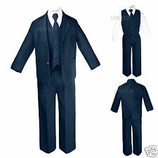 Boy Baby Infant Toddler Formal Wedding Party Navy 5pc Suit Tuxedo Tie Set S-4T