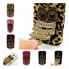 Bling Leopard 3D Flying Owl Fur Hard Cover Case For  Samsung Galaxy Ace 2 i8160