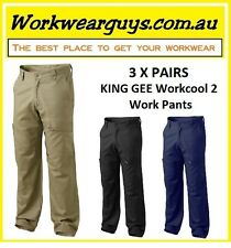 3 x PAIRS KING GEE Workcool 2 Pants (Navy, Khaki, Black) WORKWEAR