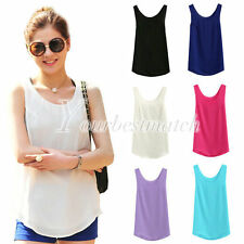 Women's Fashion Chiffon Sleeveless Tank Tops Vest Double Layer Casual Wholesale
