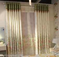 %H Customized Cotton Printing White+Green 70% Blockout Home Decoration Curtain