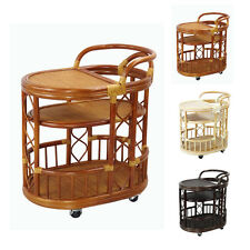 NEW!!! TROLLEY SERVING MOVING CART HANDMADE NATURAL WICKER RATTAN FURNITURE