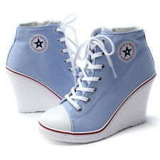 Epic7snob Womens Shoes Canvas Wedge High Heel Lace Up Fashion Sneakers