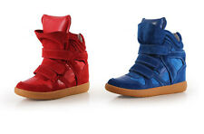 Womens High-TOP Strap Two Tongue Sneakers Faux Leather  Wedge Ankle Boots Shoes