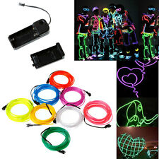 Neon Light Glow EL Wire Car Party DIY Rope Tube 3M + Controller 8 color US Stock