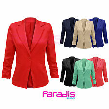 NEW LADIES RUCHED RUFFLE ONE BUTTON BLAZER SMART OFFICE JACKET WOMENS COAT TOP