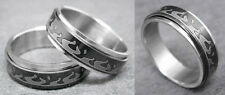 R058P Stainless Steel Spin Ring Men Flame Black You Pick Ring Size