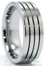 Men's Tungsten Carbide Triple Grooves Flat Band, Ring  - Size 8 to 14.5