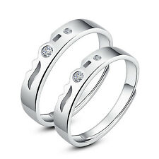 His and Hers Rings Sterling Silver Promise Rings Adjustable Open Ring set
