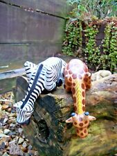 Fair Trade Hand Carved Made Wooden Shelf Giraffe Zebra Set 2 Safari Sculptures