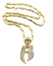 """New RUFF RYDER 'R' Hip Hop Pendant 4mm/24"""" Sausage Chain Necklace MZ85"""