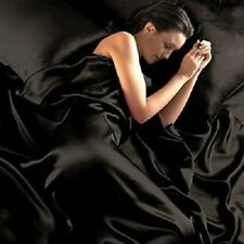 HIGH QUALITY EXTRA SOFT 800TC SATIN SILK COMPLETE US BEDDING COLLECTION IN BLACK