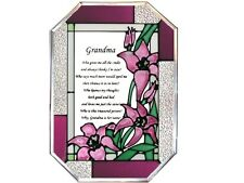 Grandmothers Day 7x10 Hand Painted Stained Art Glass Window Suncatcher