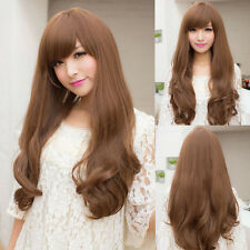 Fashion New Women and Girls Wigs Curly Full Long Fluffy Hair Color Brown Black