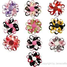 """10pcs 3"""" Boutique Girl Baby Flower Ribbon Hair Bow Alligator Clip Mix 10 Color"""