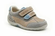 CLARKS Infant Boys Softly Lo Fst Grey Leather Smart Casual Shoes Widths F & G
