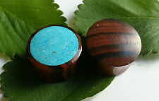 1 Pair Handcrafted Turquoise Blue Stone Sono Wood Double Flared Ear Plugs Gauges