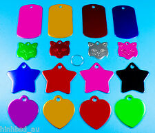 Personalised Customised Name ID Engraved Heart Star Cat Face Pet Puppy Dog Tags