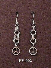 Peace Chainmail Earrings Chainmaille Maille Retro Goth Hippie Boho Punk Emo