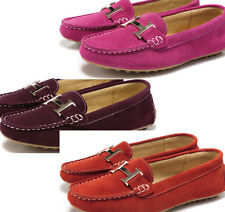 WOMENS FLAT KILLER PUNK MOCCASINS COW LEATHER SLIP-ON LOAFERS PUMPS SHOES UK2-7★