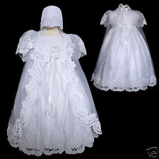 New Baby Girl Baptism Christening Dress Gown size New Born -12 months White