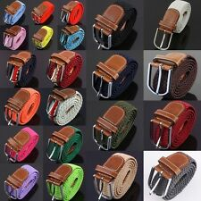 Men's Leather Braided Web Stretch Cross Buckle Casual Belt Waistband Waist Band