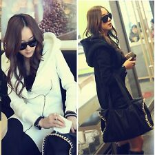 Fashion New Ladies Winter Coat Zips Long Sweatshirt Outerwear Hoodie Long Jacket