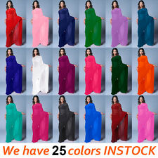 Bollywood Wedding Chiffon Plain Saree Sari Belly Dance Costume Fabric | 25 Color