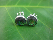 925 sterling silver flat black onyx & paua shell studs earrings 6 8 10mm UNISEX