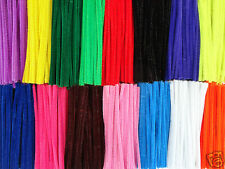 """25 OR 50 CHENILLE STEMS CRAFT PIPE CLEANERS - 10 COLOUR CHOICE - SIZE 6"""" / 15CM"""
