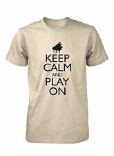 Men's Keep Calm and Play On Piano Funny T-Shirt Music Keyboard Concert Tee