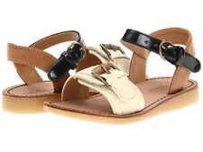 New Cole Haan Kids Apple Buckle Cream Sandal Synthetic Brown Black size Toddler