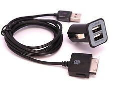 Mini Dual USB 2Ports Car Charger 3.1Amp & Sync Data Cable for Microsoft Zune LOT
