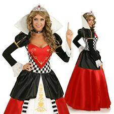 Adult Deluxe Gown Queen of Hearts Costume Alice In Wonderland Fancy Dress Outfit