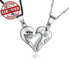 "Certified Solid Sterling ""Love You""  Matching Heart Pendant Pair w/18'' Necklace"