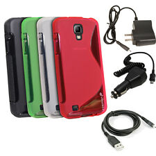 New Thin S Wave TPU Case Cover + Charger Pack for Samsung Galaxy SIV Active S 4