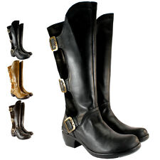 WOMENS FLY LONDON MYND LEATHER SUEDE THREE BUCKLE WIDE CALF KNEE HIGH BOOTS 3-8