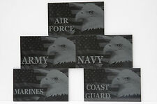 Black marble PERSONALIZED military plaque Army Navy Air Force Marines Veterans