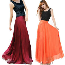 K5Y Women Lady Girl Graceful Elastic Waist Pleated Dress Chiffon Long Maxi Skirt