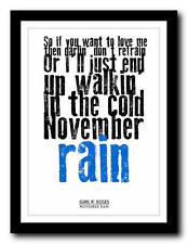 GUNS N' ROSES - November Rain - song lyric poster art typography print - 4 sizes