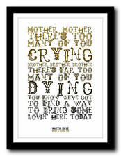 MARVIN GAYE - Whats Going On - song lyric poster art typography print - 4 sizes