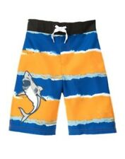 GYMBOREE SWIM SHOP ORANGE & BLUE STRIPE SHARK SWIM TRUNKS 3 4 5 6 7 10 12 NWT