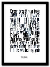 THE POLICE  -  Every Breath You Take lyric poster typography art print - 4 sizes