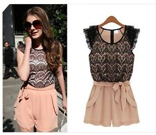 Women's Round Neck Lace Chiffon Jumpsuit Waistband Shorts Sleeveless Rompers