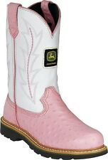 Kids John Deere White and Pink Ostrich print  Cowboy Leather Boots