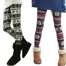 Ladies Retro Knitted Warm Leggings Tights Snowflakes Multi-Colors Winter Pants