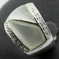 NATURAL WHITE OPAL GEMSTONE SOLID .925 STERLING SILVER RING SZ 7/8/9/10 STAMPED